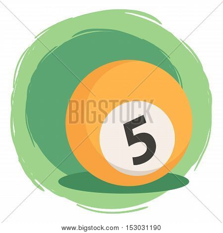 Orange Billiard ball number five 5 isolated on green white background vector illustration.