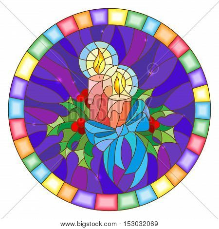 Illustration in stained glass style with candles and Holly branches on a blue background round picture frame