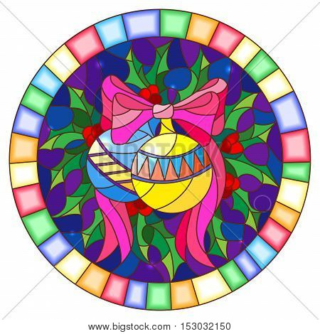 Illustration in stained glass style with Christmas toy and Holly branches on a blue background round picture frame