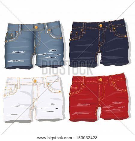 Jeans Shorts. Vector.