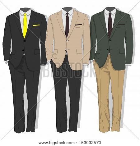 Man Suit. Clothes Collection. Vector.