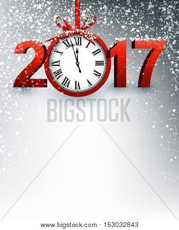 2017 New Year gray background with red clock. Vector illustration.