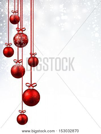 New Year background with red Christmas balls. Vector illustration.