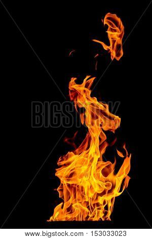 yellow and orange Fire flame isolated on black background