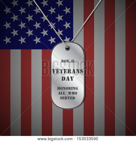 Veterans day background. Veterans day vector background. Veterans vector pattern. Veterans day design with dog tag. Veterans day stock vector.