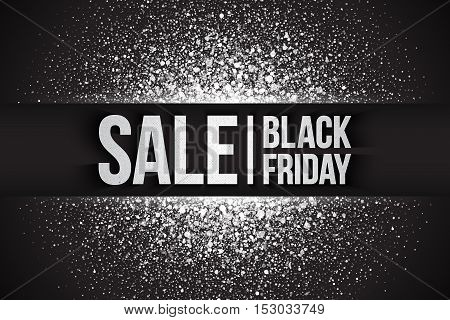 Black friday sale vector background. Illustration 3d silver letters for business, marketing and holiday. Bright white shimmer glowing round falling particles. Scatter shine light explosion