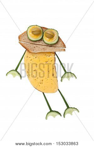 Funny frog made of bread and vegetables on white background