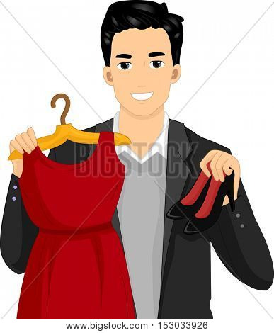 Illustration of a Guy in a Black Jacket Holding a Red Dress in One Hand and a Pair of Stilletos in the Other