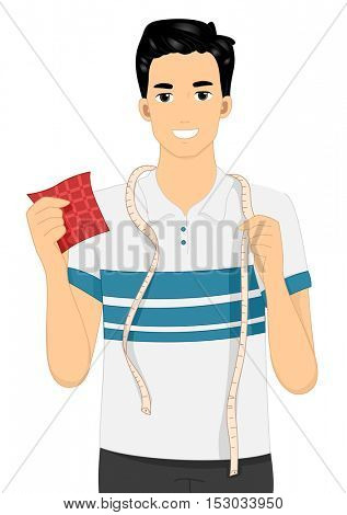 Illustration of a Man with a Measuring Tape Draped Around His Neck Holding a Piece of Red Fabric