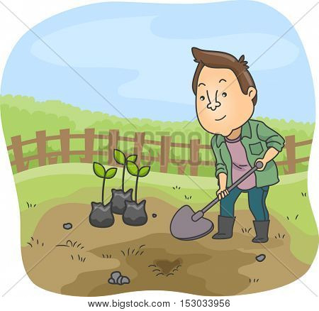 Illustration of a Man Dressed as a Farmer Using a Shovel to Dig the Ground Before Planting Saplings