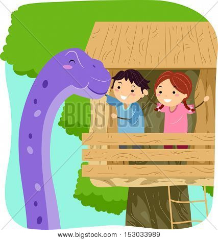 Stickman Illustration of Kids Petting a Giant Purple Dinosaur from a Tree House