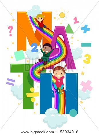 Stickman Illustration of Preschool Kids Going Down a Rainbow Slide Connected to Giant Letters That Spell the Word Math