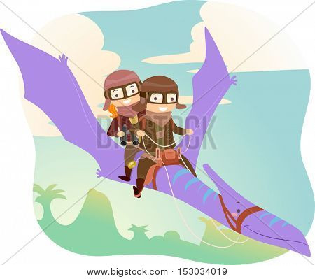 Stickman Illustration of Kids in Aviator Jacket and Glasses Riding a Pterodactyl