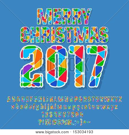 Vector bright patched Merry Christmas 2017 greeting card with set of letters, symbols and numbers