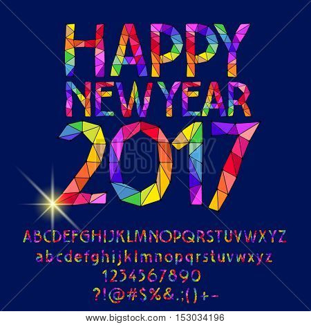 Vector patched shiny Happy New Year 2017 greeting card with set of letters, symbols and numbers
