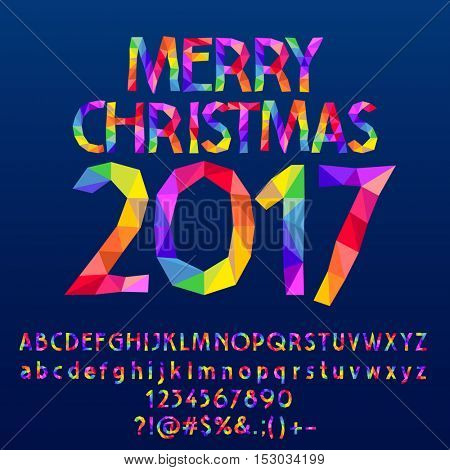 Vector patched Merry Christmas 2017 greeting card with set of letters, symbols and numbers