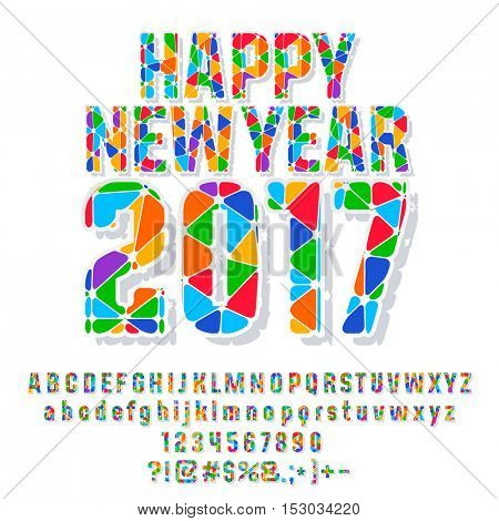 Vector patched colorful Happy New Year 2017 greeting card with set of letters, symbols and numbers