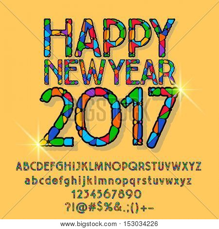 Vector patched shining Happy New Year 2017 greeting card with set of letters, symbols and numbers