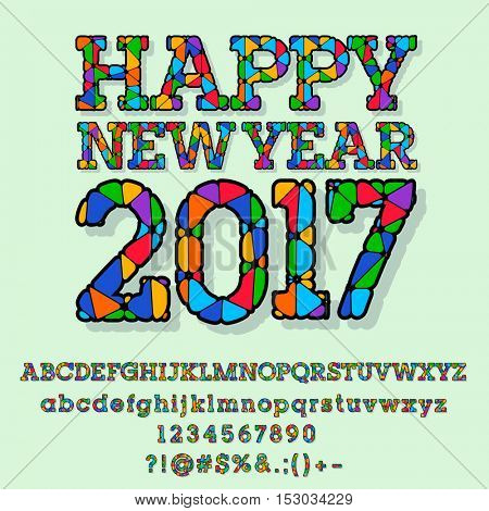 Vector patched bright Happy New Year 2017 greeting card with set of letters, symbols and numbers