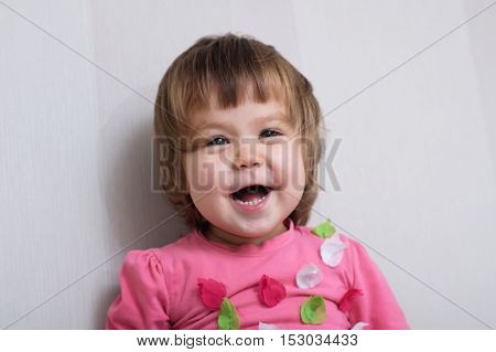 Cheerful Little Girl Portrait Happy Laughing