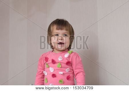 Cheerful Kid Portrait Happy Cute Laughing