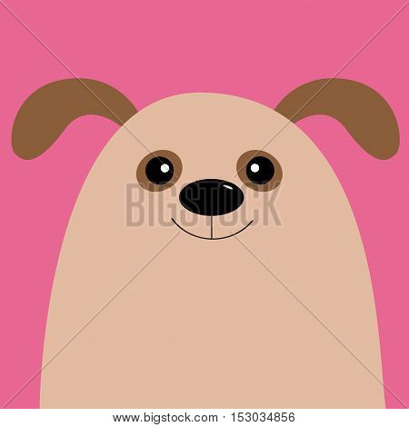 Dog head. Cute cartoon character. Pet baby collection. Isolated. Pink background. Flat design. Vector illustration