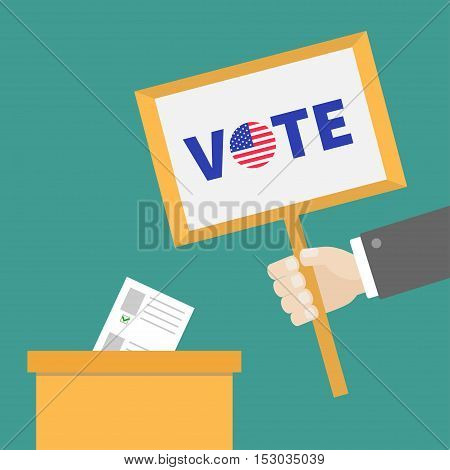 Ballot Voting box Paper blank bulletin. Businessman hand holding plate Vote text with Badge button American flag President election day. concept. Flat design. Vector