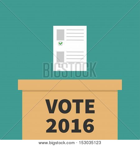 Ballot Voting box Paper blank bulletin with green mark concept. Polling station. President election day Vote 2016. background Flat design Card. Vector illustration