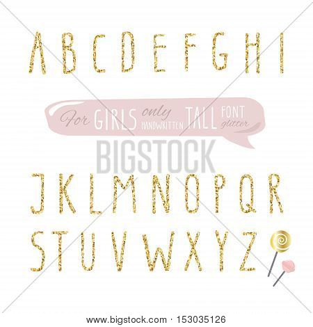 Cute hand drawn narrow glitter font for girls. Tall shiny alphabet. Doodle hand written condensed thin letters.