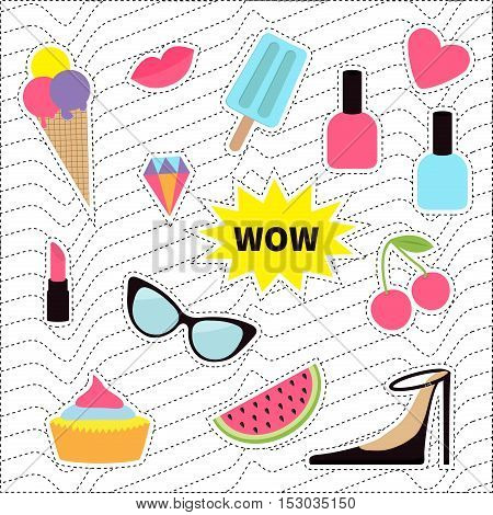 Quirky sticker patch badge set. Fashion pin. Lipstick heart wow cupcake shoes ice cream watermelon lips cherry sunglasses White black wave dash line optical background. Flat Vector