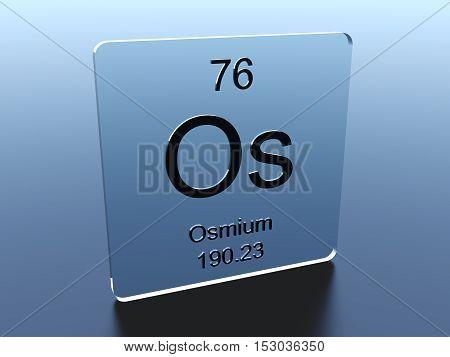 Osmium symbol on a glass square 3D render