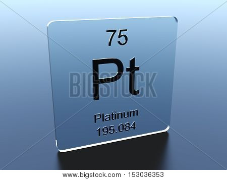 Platinum symbol on a glass square 3D render