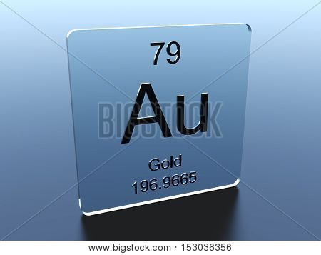 Gold symbol on a glass square 3D render
