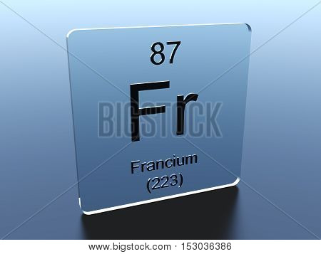 Francium symbol on a glass square 3D render