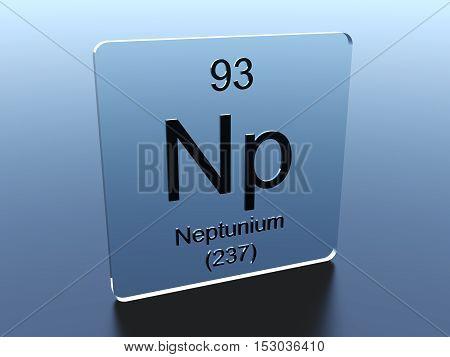 Neptunium symbol on a glass square 3D render