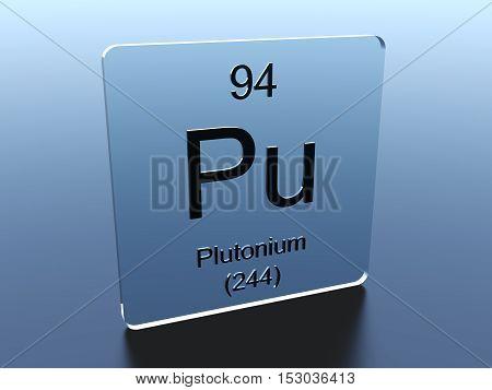 Plutonium symbol on a glass square 3D render