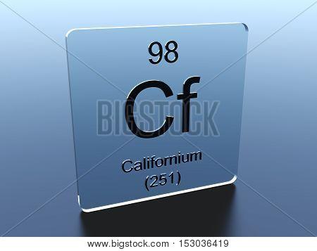 Californium symbol on a glass square 3D render
