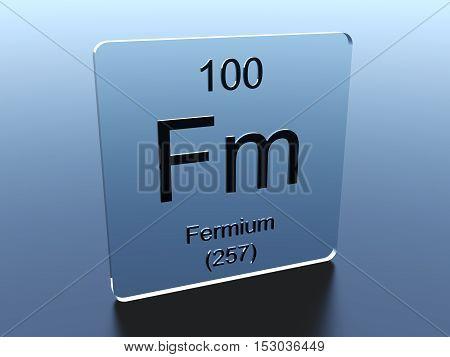 Fermium symbol on a glass square 3D render