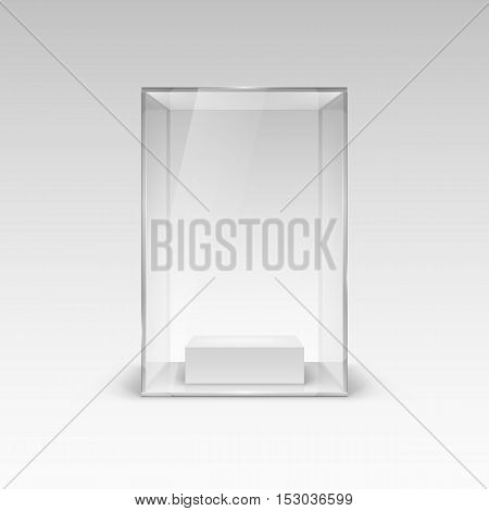 Glass Showcase for Presentation. Illustration with Shadow on White