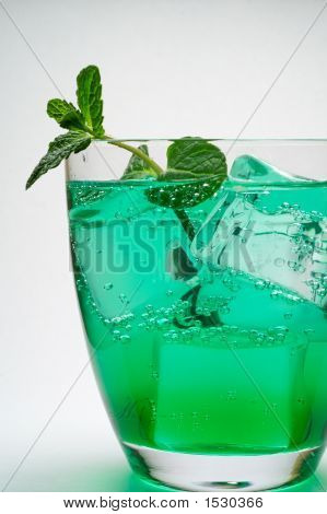 Drink With Ice Cubes And Mint Leaves (3)