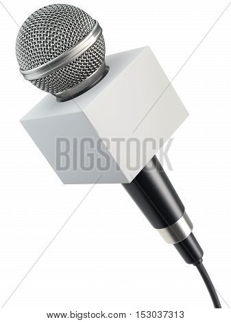 Microphone with blank advertising box isolated on a white background - 3D illustration