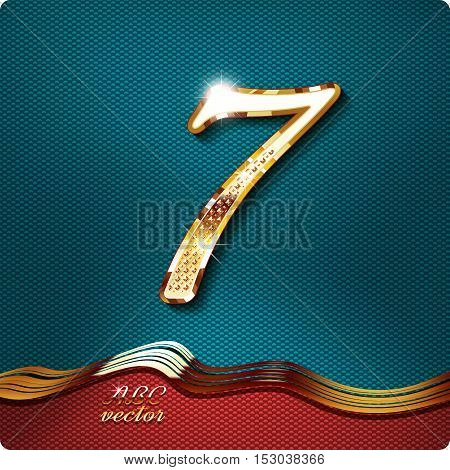 Golden stylish Inlaid figure is 7, with shadow and glare. vector digit seven.