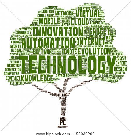 Vector concept or conceptual digital smart technology tree word cloud isolated on background metaphor to information, innovation, internet, future, development, research, evolution or intelligence