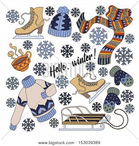 Cartoon Cute Doodles Hand Drawn Hello Winter Isolated Colorful Detailed