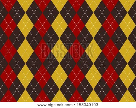 Brown red yellow argyle texture seamless pattern. Flat design. Vector illustration.