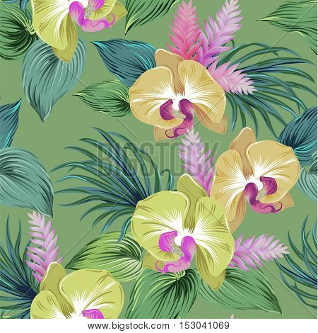 realistic orchids. seamless vector pattern with camouflage colors. amazing detailed illustration, editable elements.