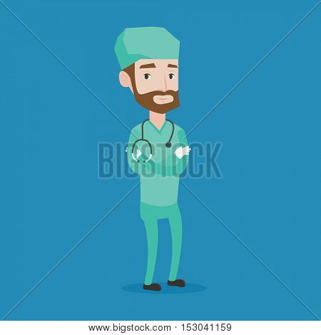 A hipster surgeon with the beard standing with arms crossed. Young caucasian confident surgeon in medical uniform. Surgeon with stethoscope on his neck. Vector flat design illustration. Square layout.