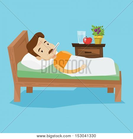 Caucasian sick man with fever laying in bed. Sick man measuring temperature with thermometer in mouth. Sick man suffering from cold or flu virus. Vector flat design illustration. Square layout.