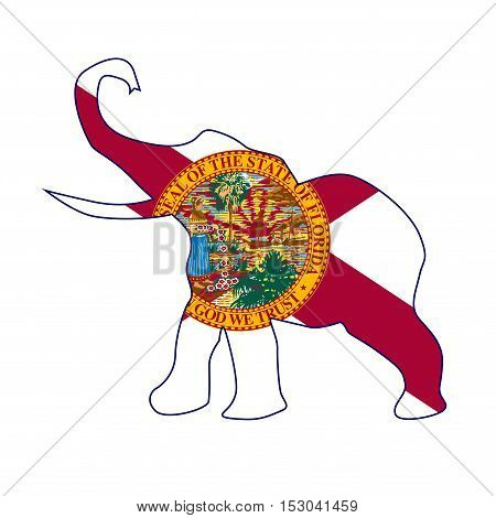 The Florida Republican party elephant flag over a white background