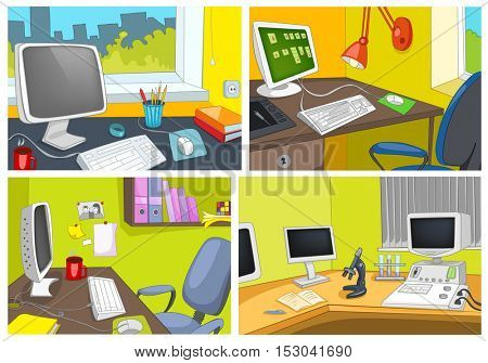 Hand drawn vector cartoon set of modern office interiors. Colourful cartoon backgrounds of office workplaces. Cartoon backgrounds of office interiors. Cartoon background of laboratory workplace.
